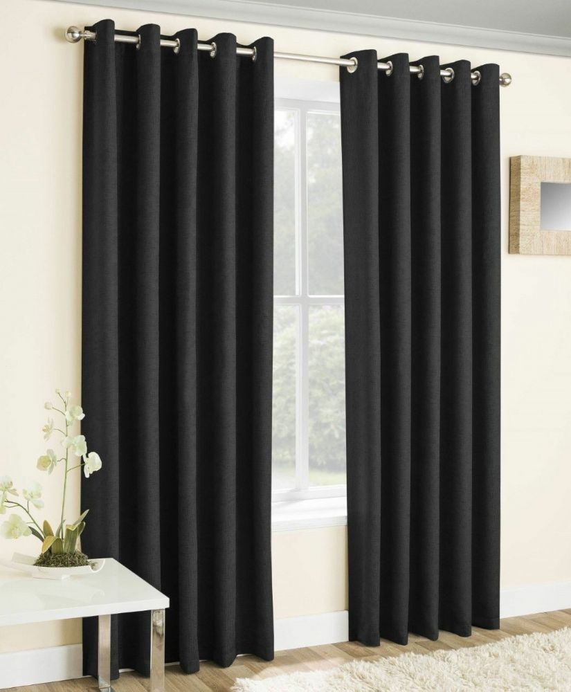 Pairs Of Black Textured Velvet Eyelet Block Out Light